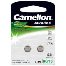 Pila Botón Alcalina LR44 1.5V 0% Mercurio (2 pcs) Camelion