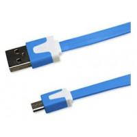 Cable Plano Micro USB 1m Azul