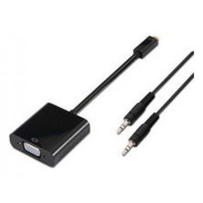Conversor Micro HDMI a SVGA+Audio D/M-SVGA/H+3.5/H Negro