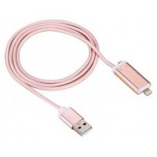 Cable USB a Lightning 8 Pines (Carga & Transferencia) Metal Rosa 1m Biwond