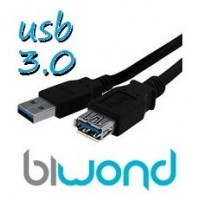 CABLE USB 3.0 3M BIWOND, TIPO A/M-A/H, NEGRO