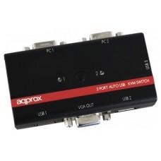 CONMUTADOR APPROX KVM USB/VGA DE 3 PUERTOS USB CABLE