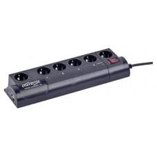 Gembird EG-PMS2-LAN 6AC outlet(s) 250V 1.8m Negro limitador de tensión