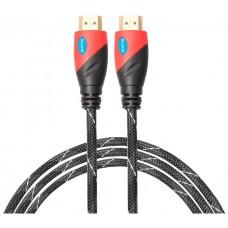 Cable HDMI Mallado v.1.4 M/M 30AWG Rojo/Negro 2.5m BIWOND