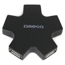 OMEGA OUH24SB HUB 4 PU USB  2,0 ESTRELLA NEGRO